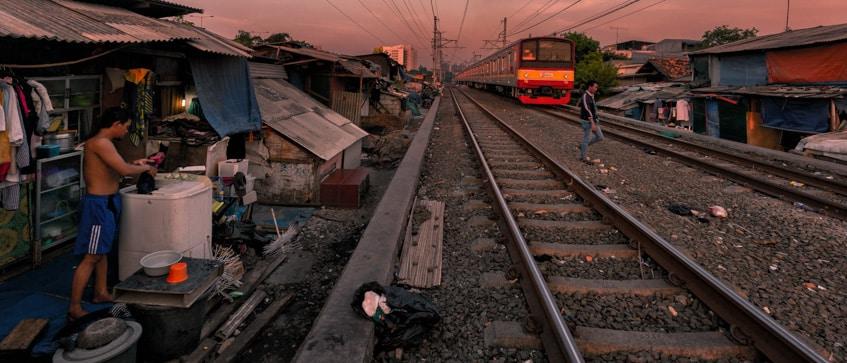 slum along the railroad tracks