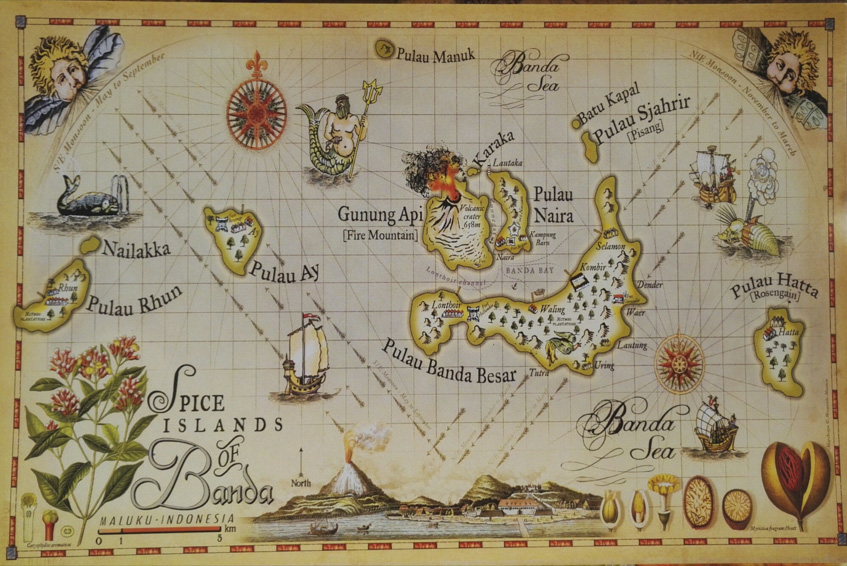 Historic map of Banda islands