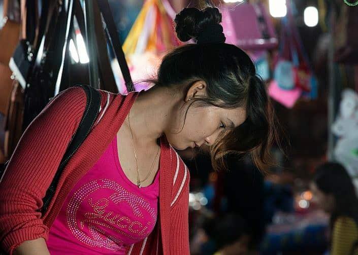 night market shopping girl