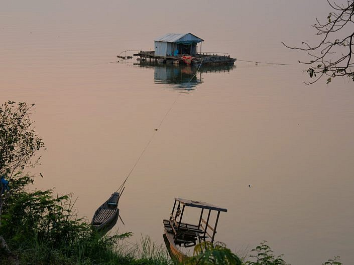 houseboat on Mekong river