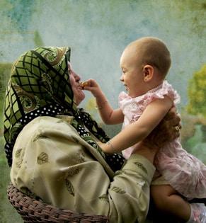 Grandmother with grandchild, Turkey